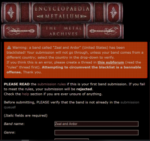 Warning on submission attempt of Zeal and Ardor on metal archives