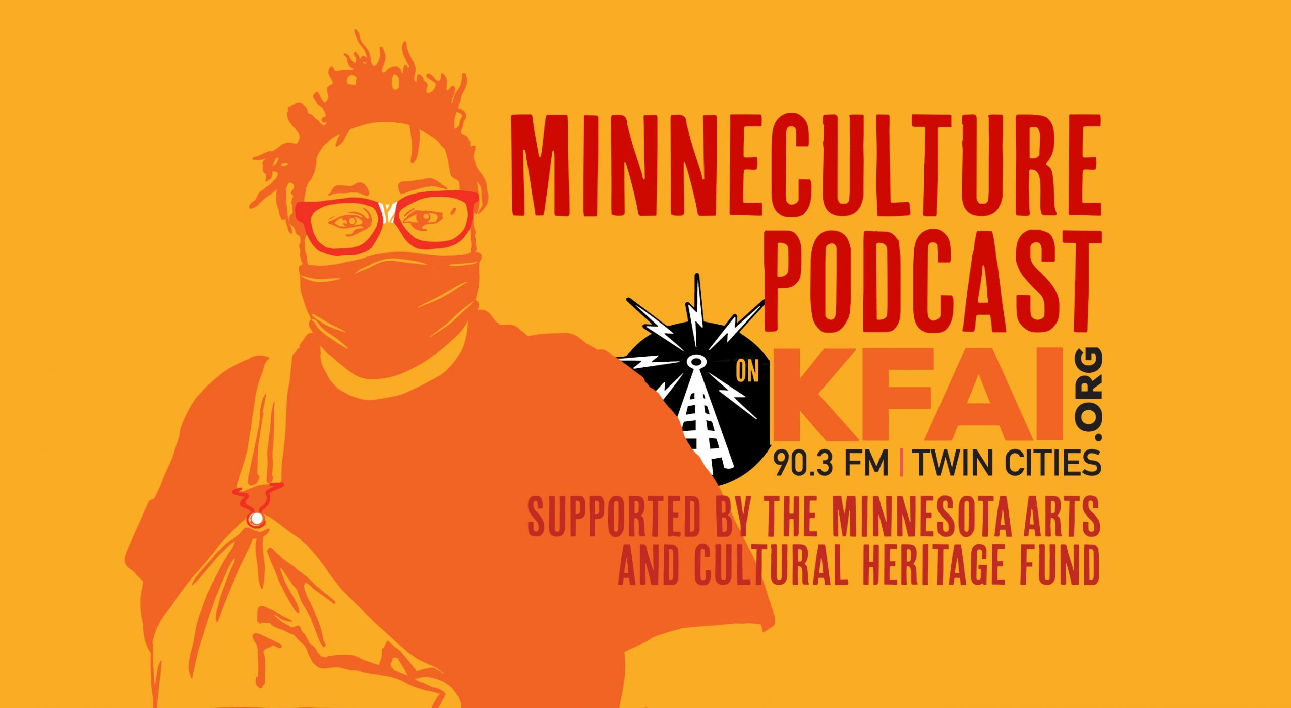MinneCulture Podcast promo ad featuring illustration of hip hop artist Nur-D