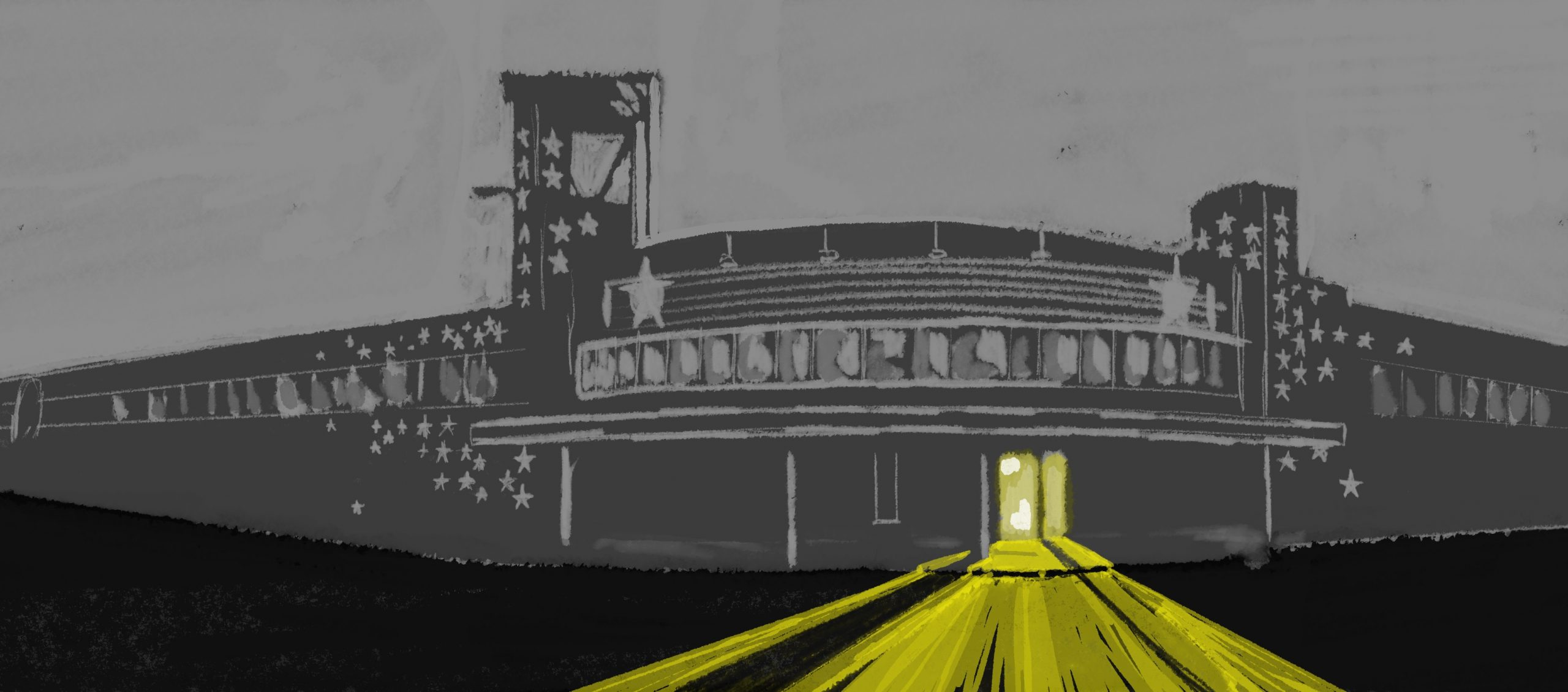 Digital illustration of First Avenue Music Venue dark, except for one light, shining onto the street
